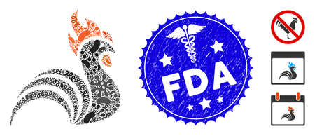 Epidemic mosaic rooster icon and rounded rubber stamp seal with FDA caption and serpents icon. Mosaic is designed with rooster pictogram and with scattered epidemic symbols.