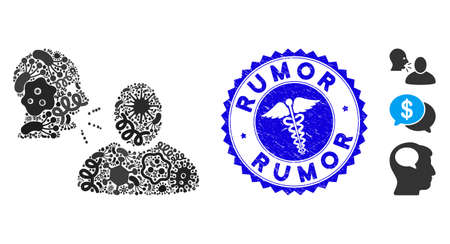 Pathogen mosaic rumor icon and rounded corroded stamp watermark with Rumor phrase and clinic sign. Mosaic is formed with rumor icon and with random pathogen icons.
