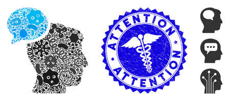Pandemic collage person idea icon and rounded distressed stamp watermark with Attention caption and clinic icon. Mosaic vector is created with person idea icon and with scattered virus symbols.
