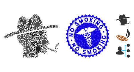 Viral mosaic cigarette smoker icon and round corroded stamp watermark with No Smoking caption and clinic icon. Mosaic is composed with cigarette smoker icon and with randomized microbe icons.