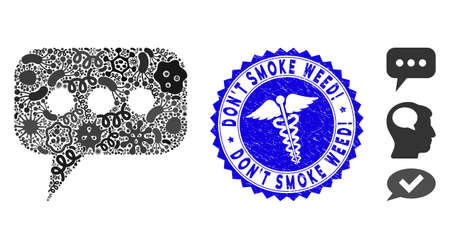 Fever mosaic opinion cloud icon and rounded distressed stamp seal with Don'T Smoke Weed! phrase and serpents icon. Mosaic vector is formed with opinion cloud icon and with random contagious symbols.