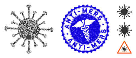 Epidemic mosaic coronavirus icon and rounded grunge stamp watermark with Anti-Mers phrase and health care sign. Mosaic is created with coronavirus icon and with random bacteria symbols. Illustration