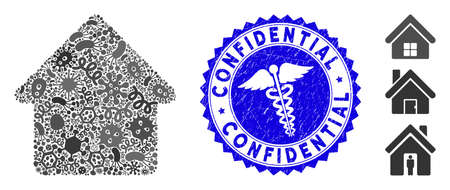 Infectious mosaic cabin icon and rounded grunge stamp seal with Confidential text and healthcare sign. Mosaic vector is formed with cabin icon and with randomized viral objects.