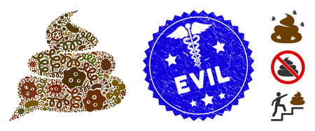 Contagion mosaic shit idea cloud icon and rounded corroded stamp seal with Evil text and healthcare sign. Mosaic is formed with shit idea cloud icon and with random pathogen symbols. Illustration