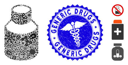 Epidemic mosaic vial icon and rounded rubber stamp watermark with Generic Drugs phrase and medical icon. Mosaic is created with vial pictogram and with randomized microbe icons. Vecteurs