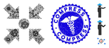 Outbreak mosaic meeting point icon and round grunge stamp seal with Compress text and clinic sign. Mosaic is composed with meeting point icon and with randomized bacillus icons.