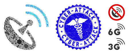 Infection mosaic space antenna icon and rounded rubber stamp watermark with Cyber-Attack caption and clinic icon.