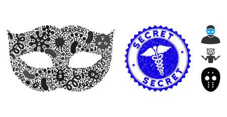 Pathogen mosaic privacy mask icon and round grunge stamp watermark with Secret caption and medic icon. Mosaic is created with privacy mask icon and with scattered infection elements.