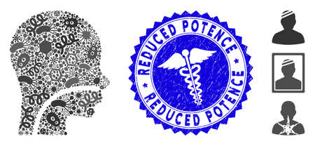 Contagious mosaic patient icon and rounded grunge stamp seal with Reduced Potence phrase and caduceus icon. Mosaic is composed with patient pictogram and with randomized contagious objects.
