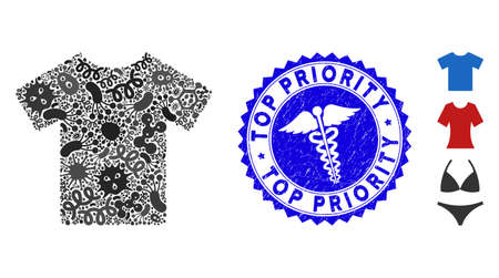 Contagious mosaic T-shirt icon and round rubber stamp seal with Top Priority caption and health care symbol. Mosaic is created with T-shirt icon and with randomized infectious symbols. Illustration