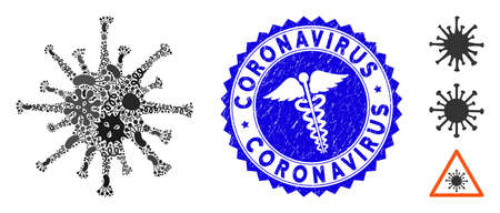 Infected mosaic coronavirus icon and round corroded stamp watermark with Coronavirus phrase and medicine sign.