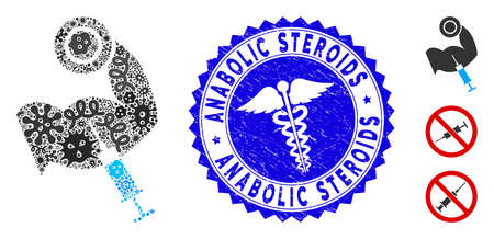 Contagion collage anabolic steroids icon and rounded distressed stamp seal with Anabolic Steroids phrase and medicine symbol.