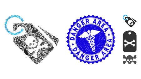Biohazard collage tags icon and round grunge stamp seal with Danger Area text and caduceus symbol. Mosaic is formed with tags icon and with scattered pathogen elements.