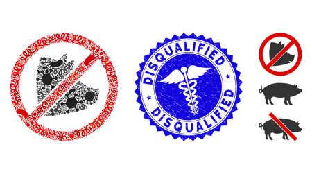 Infectious mosaic no pig icon and rounded grunge stamp seal with Disqualified text and medic icon. Mosaic is designed from no pig icon and with scattered infectious symbols.