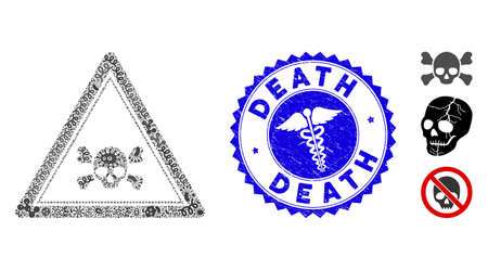 Flu mosaic skull icon and round rubber stamp seal with caption and medical icon. Mosaic is created from skull triangle icon and with randomized flu icons.