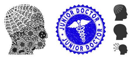 Icône de tête de conservateur de collage d'épidémie et sceau de timbre rond corrodé avec texte de médecin junior et icône de médecine.