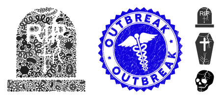 Flu mosaic old grave icon and round corroded stamp watermark with Outbreak text and doctor icon. Mosaic vector is formed with old grave icon and with scattered contagious items.
