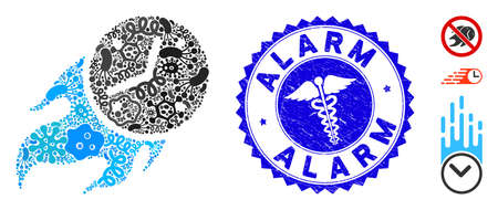 Epidemic collage deadline fire icon and rounded rubber stamp watermark with Alarm phrase and clinic icon.