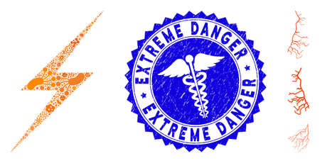 Pandemic mosaic lightning icon and round grunge stamp watermark with Extreme Danger text and doctor icon. Illustration
