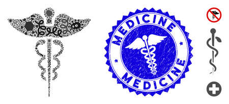 Flu mosaic medicine caduceus symbol icon and rounded distressed stamp seal with Medicine caption and healthcare symbol.