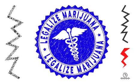 Contagious mosaic zigzag line icon and round corroded stamp seal with Legalize Marijuana phrase and doctor icon.