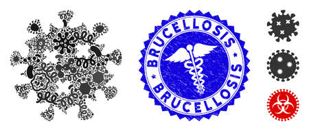 Infected mosaic infection virus icon and rounded corroded stamp watermark with Brucellosis text and health care icon.