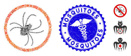 Pathogen mosaic spider icon and rounded distressed stamp seal with Mosquitoes text and medicine symbol. Mosaic is composed with spider icon and with randomized pathogen symbols. Illustration