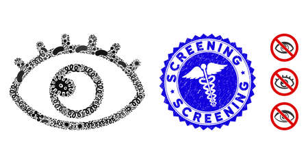 Biohazard mosaic eye icon and round rubber stamp seal with Screening phrase and doctor icon. Mosaic vector is formed with eye icon and with randomized viral objects.