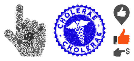 Viral mosaic select gesture icon and round rubber stamp seal with Cholerae text and medic icon. Mosaic vector is designed with select gesture icon and with scattered infectious elements.