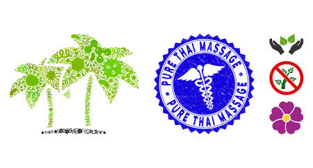 Pandemic collage island palms icon and round grunge stamp seal with Pure Thai Massage text and healthcare sign. Mosaic is designed with island palms icon and with scattered amoeba elements.