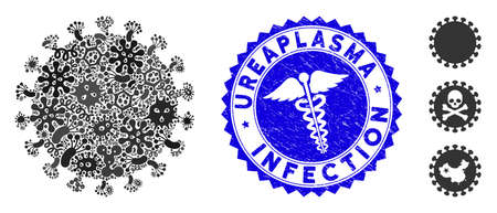 Pandemic mosaic virus shell icon and rounded corroded stamp seal with Ureaplasma Infection phrase and caduceus sign. Mosaic vector is formed with virus shell icon and with random bacillus elements.