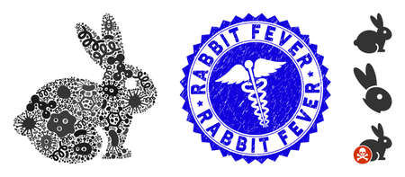 Outbreak collage rabbit icon and rounded distressed stamp seal with Rabbit Fever phrase and medicine icon. Mosaic is composed with rabbit icon and with randomized bacterium items. Иллюстрация