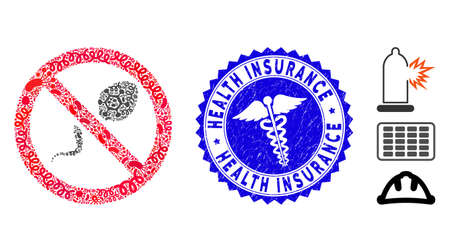 Infectious mosaic contraception icon and round rubber stamp watermark with Health Insurance phrase and clinic icon.