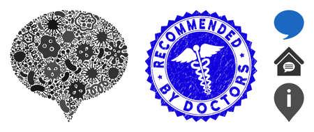 Contagiosa icona suggerimento mosaico e timbro di gomma arrotondato con frase Raccomandata dai medici e icona di serpenti. Il vettore del mosaico è composto da pittogrammi di suggerimento e con elementi pandemici casuali. Vettoriali