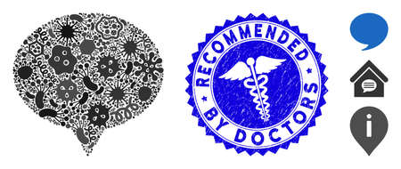 Contagious mosaic hint icon and rounded rubber stamp seal with Recommended by Doctors phrase and serpents icon. Mosaic vector is composed from hint pictogram and with random pandemic elements. Illustration