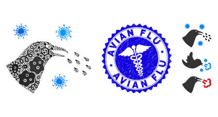 Flu mosaic bird flu infection icon and rounded distressed stamp seal with Avian Flu phrase and clinic icon. Mosaic vector is created with bird flu infection icon and with randomized pandemic objects.