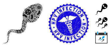 Flu mosaic spermatozoon icon and round rubber stamp seal with Hpv Infection text and medical icon. Mosaic is composed with spermatozoon icon and with scattered contagion objects.