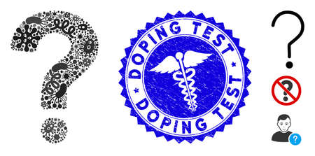 Infected mosaic question icon and round rubber stamp seal with Doping Test caption and clinic icon. Mosaic is composed with question icon and with random infectious elements. Illustration