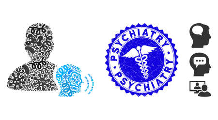 Flu mosaic medium icon and round distressed stamp seal with Psychiatry caption and medical icon. Mosaic is designed with medium pictogram and with randomized flu elements.