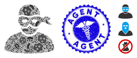 Contagion mosaic anonimious thief icon and round rubber stamp seal with Agent text and healthcare icon. Mosaic vector is created with anonimious thief icon and with scattered bacteria icons.