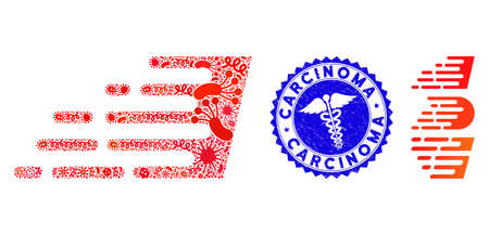 Contagious mosaic rush effect icon and rounded distressed stamp seal with Carcinoma phrase and healthcare icon.