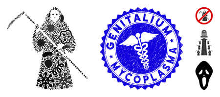 Pandemic mosaic scytheman icon and round rubber stamp seal with Genitalium Mycoplasma caption and serpents symbol.