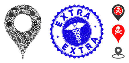 Outbreak mosaic map pointer icon and rounded distressed stamp seal with Extra text and medical sign.