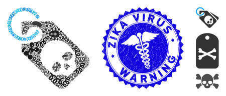 Microbe mosaic death skull tag icon and rounded rubber stamp watermark with Zika Virus Warning phrase and healthcare icon.
