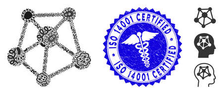 Infected mosaic network links icon and rounded rubber stamp watermark with ISO 14001 Certified caption and healthcare symbol.