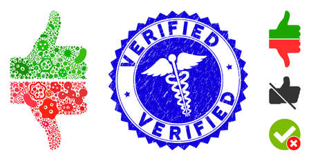 Infectious mosaic yes no gesture icon and rounded corroded stamp seal with Verified text and healthcare icon. Mosaic vector is composed with yes no gesture icon and with scattered infectious elements.
