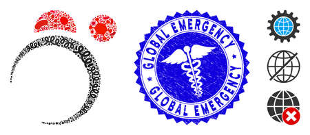 Pandemic mosaic planet system icon and round rubber stamp seal with Global Emergency caption and health care sign.
