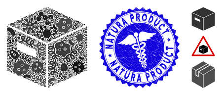 Infectious mosaic goods box icon and rounded grunge stamp watermark with Natura Product text and healthcare symbol.