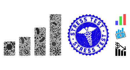 Biohazard mosaic bar chart icon and round rubber stamp seal with Stress Test caption and serpents icon. Illustration