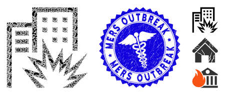Infected mosaic house terror icon and round rubber stamp seal with Mers Outbreak text and medic icon.